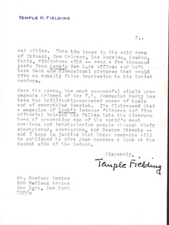 TEMPLE FIELDING - TYPED LETTER SIGNED 01/22/1951