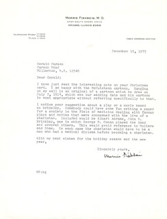 MORRIS FISHBEIN - TYPED LETTER SIGNED 12/15/1975