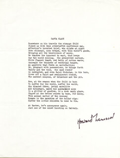 Autographs: HOWARD NEMEROV - TYPESCRIPT SIGNED