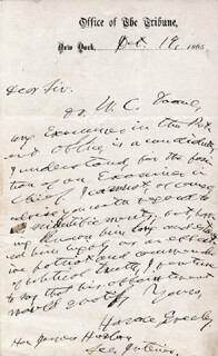 HORACE GREELEY - AUTOGRAPH LETTER SIGNED 10/19/1865