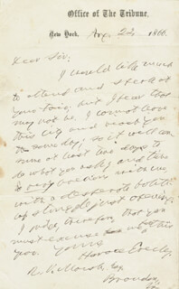HORACE GREELEY - AUTOGRAPH LETTER SIGNED 04/22/1866
