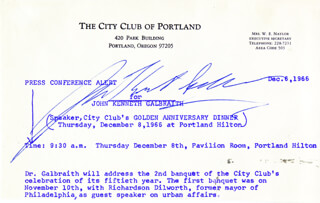 JOHN KENNETH GALBRAITH - PRESS RELEASE SIGNED 12/06/1966