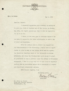 THOMAS S. GATES SR. - TYPED LETTER SIGNED 05/01/1941