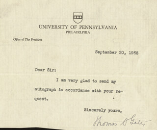 THOMAS S. GATES SR. - TYPED LETTER SIGNED 09/20/1935