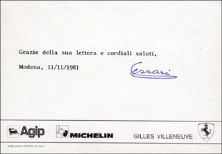 Autographs: ENZO FERRARI - TYPED NOTE SIGNED 11/11/1981