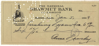 ANNE LANSKY - AUTOGRAPHED SIGNED CHECK 01/05/1939  - HFSID 179324