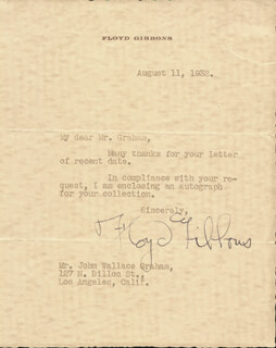 Autographs: FLOYD P. GIBBONS - TYPED LETTER SIGNED 08/11/1932