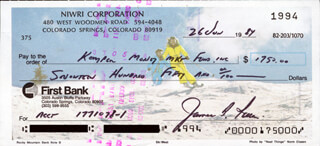 COLONEL JAMES B. JIM IRWIN - AUTOGRAPHED SIGNED CHECK