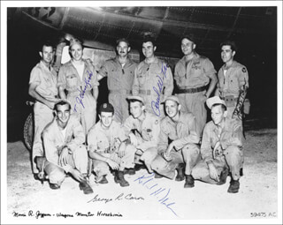 ENOLA GAY CREW - AUTOGRAPHED SIGNED PHOTOGRAPH CO-SIGNED BY: ENOLA GAY CREW (THEODORE VAN KIRK), ENOLA GAY CREW (RICHARD H. NELSON), ENOLA GAY CREW (MORRIS JEPPSON), ENOLA GAY CREW (JACOB BESER), ENOLA GAY CREW (GEORGE R. CARON), ENOLA GAY CREW (PAUL W. TIBBETS), ENOLA GAY CREW (COLONEL THOMAS W. FEREBEE)