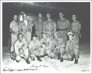ENOLA GAY CREW - AUTOGRAPHED SIGNED PHOTOGRAPH CO-SIGNED BY: ENOLA GAY CREW (THEODORE VAN KIRK), ENOLA GAY CREW (WYATT DUZENBURY), ENOLA GAY CREW (RICHARD H. NELSON), ENOLA GAY CREW (MORRIS JEPPSON), ENOLA GAY CREW (GEORGE R. CARON), ENOLA GAY CREW (PAUL W. TIBBETS), ENOLA GAY CREW (COLONEL THOMAS W. FEREBEE)