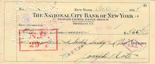 JOEY A. (GIUSEPPE ANTONIO DOTO) ADONIS - AUTOGRAPHED SIGNED CHECK 10/11/1937  - HFSID 179351
