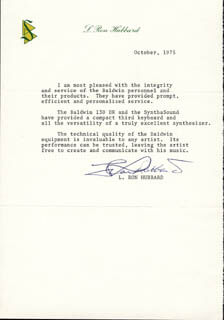 L. RON HUBBARD - TYPED LETTER SIGNED 10/1975