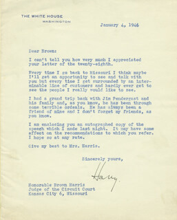 PRESIDENT HARRY S TRUMAN - TYPED LETTER SIGNED 01/04/1946