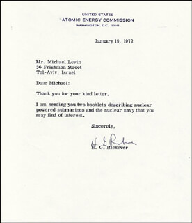 ADMIRAL HYMAN G. RICKOVER - TYPED LETTER SIGNED 01/19/1972
