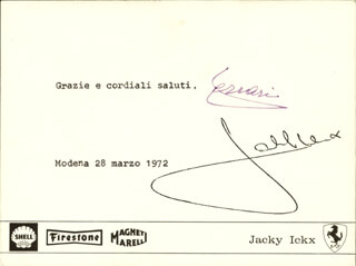 Autographs: ENZO FERRARI - TYPED NOTE SIGNED 03/28/1972