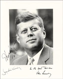 FIRST LADY JACQUELINE B. KENNEDY - AUTOGRAPHED SIGNED PHOTOGRAPH CO-SIGNED BY: EDWARD TED KENNEDY