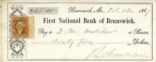 MAJOR GENERAL JOSHUA LAWRENCE CHAMBERLAIN - AUTOGRAPHED SIGNED CHECK 10/12/1867
