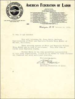 WILLIAM GREEN - TYPED LETTER SIGNED 10/13/1936