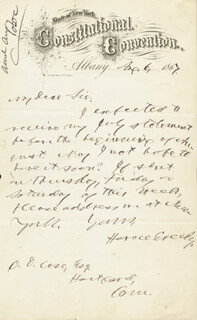 HORACE GREELEY - AUTOGRAPH LETTER SIGNED 08/06/1867
