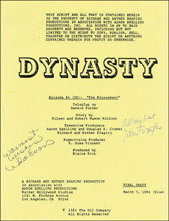 DYNASTY TV CAST - SCRIPT SIGNED CO-SIGNED BY: JOHN FORSYTHE, LINDA EVANS