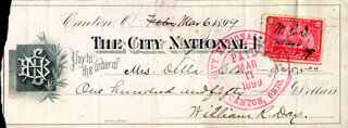 ASSOCIATE JUSTICE WILLIAM R. DAY - CHECK DOUBLE SIGNED 03/06/1899