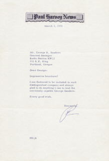 PAUL HARVEY - TYPED LETTER SIGNED 03/01/1971