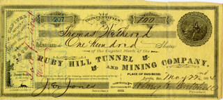 Autographs: JOHN E. JONES - STOCK CERTIFICATE MULTI-SIGNED