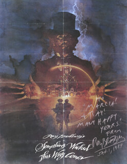 RAY BRADBURY - INSCRIBED POSTER SIGNED 01/01/1984