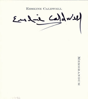 ERSKINE CALDWELL - AUTOGRAPH