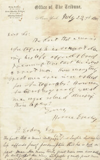 HORACE GREELEY - AUTOGRAPH LETTER SIGNED 07/22/1860