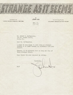 JOHN HIX - TYPED LETTER SIGNED 11/22/1939