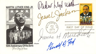 PRESIDENT GERALD R. FORD - FIRST DAY COVER SIGNED CO-SIGNED BY: ANDREW LLOYD WEBBER, JESSE L. JACKSON, JAMES H. MEREDITH