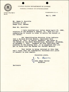 J. EDGAR HOOVER - TYPED LETTER SIGNED 05/03/1960  - HFSID 17993