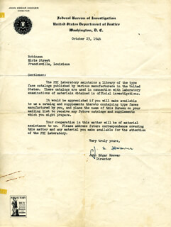 J. EDGAR HOOVER - TYPED LETTER SIGNED 10/23/1946  - HFSID 17994