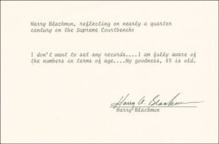 ASSOCIATE JUSTICE HARRY A. BLACKMUN - TYPED QUOTATION SIGNED