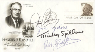 TOM CLANCY - FIRST DAY COVER SIGNED CO-SIGNED BY: RAY BRADBURY, MICKEY SPILLANE, JOHN UPDIKE