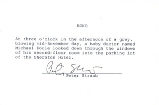 PETER STRAUB - TYPED QUOTATION SIGNED