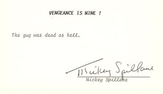 MICKEY SPILLANE - TYPED QUOTATION SIGNED