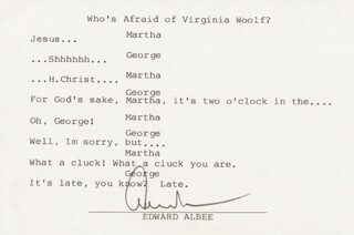 EDWARD ALBEE - TYPED QUOTATION SIGNED