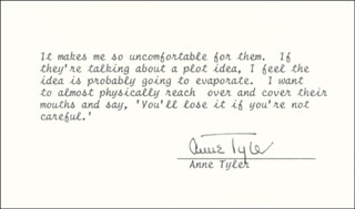 ANNE TYLER - TYPED QUOTATION SIGNED
