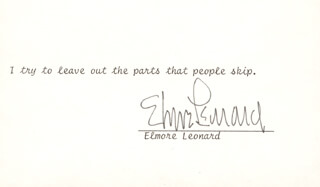 ELMORE J. LEONARD JR. - TYPED QUOTATION SIGNED