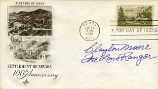 CLAYTON THE LONE RANGER MOORE - FIRST DAY COVER SIGNED
