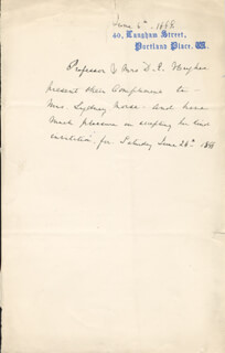 DAVID E. HUGHES - THIRD PERSON AUTOGRAPH LETTER