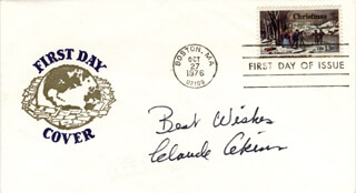 Autographs: CLAUDE AKINS - FIRST DAY COVER WITH AUTOGRAPH SENTIMENT SIGNED