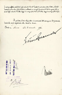 Autographs: PRIME MINISTER BENITO (IL DUCE) MUSSOLINI (ITALY) - DOCUMENT SIGNED 12/02/1926 CO-SIGNED BY: KING VICTOR EMMANUEL III (ITALY)