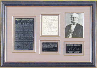 HORACE GREELEY - AUTOGRAPH LETTER SIGNED 08/17/1867