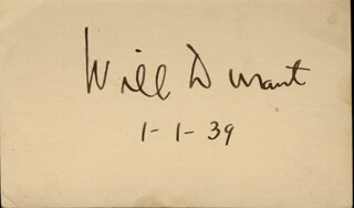 WILL DURANT - AUTOGRAPH 01/01/1939
