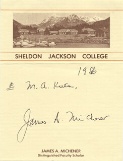 JAMES A. MICHENER - INSCRIBED SIGNATURE