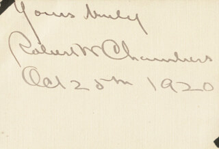 ROBERT W. CHAMBERS - AUTOGRAPH SENTIMENT SIGNED 10/25/1920