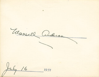 MAXWELL ANDERSON - AUTOGRAPH 07/16/1951
